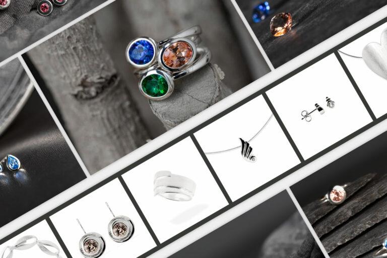 Eine Collage aus Schmuckfotos für Fritsch Sterling