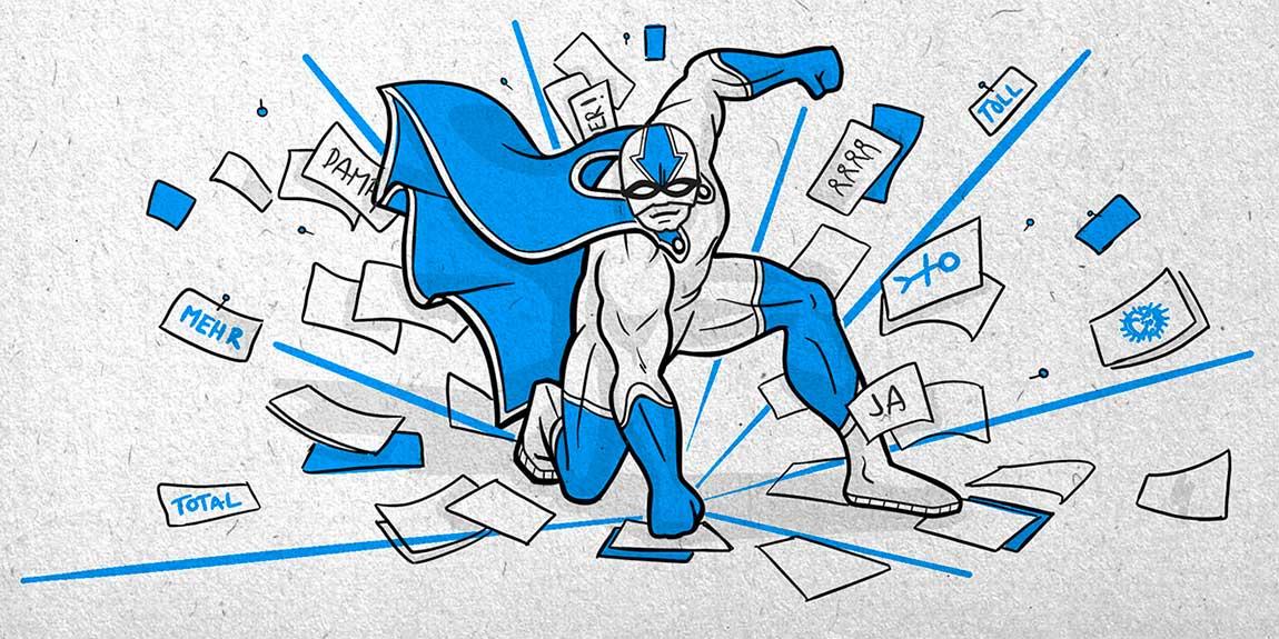 Illustration zeigt Superhelden, der mit der Faust auf den Boden schlägt und dabei viele verschiedene Papiere aufwirbelt