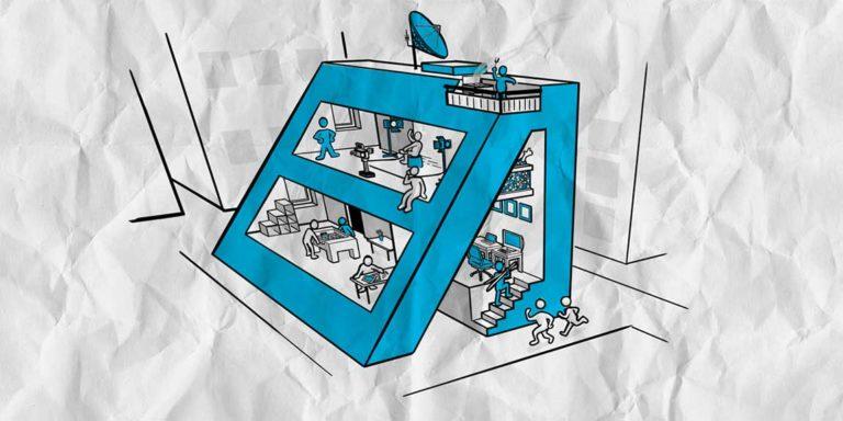 Illustration der Alten Schnapsfabrik in a&o cyan