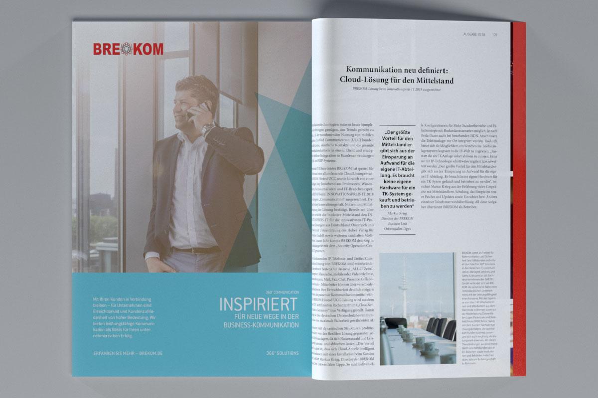 """Anzeige von BREKOM in einer aufgeklappten Zeitschrift """"Inspiriert für neue Wege in der Business-Kommunikation"""""""