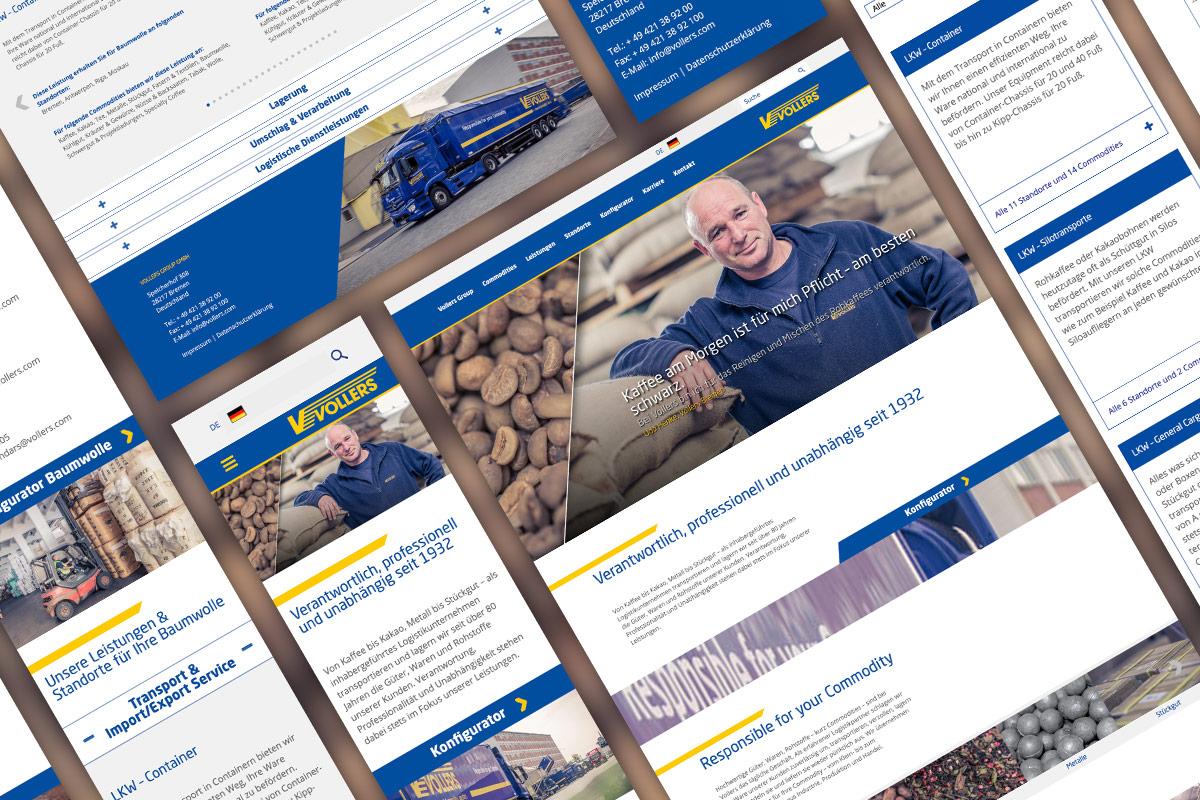 Collage aus den Unterseiten des Vollers-Website