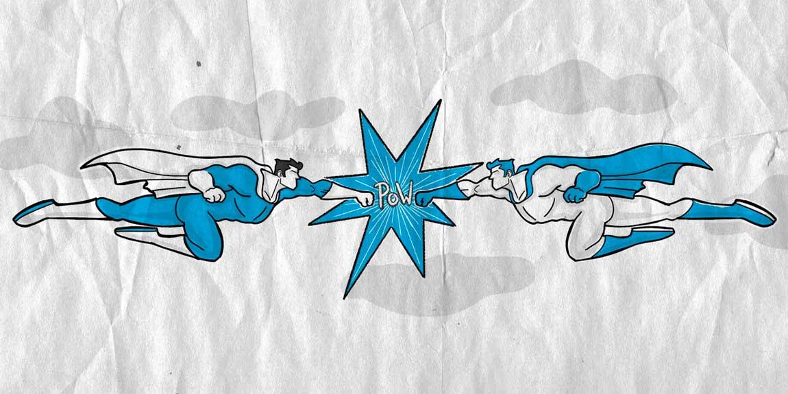 """Die Illustration """"Corporate Identity Design"""" zeigt zwei Superhelden die mit den Fäusten voran aufeinander zufliegen"""