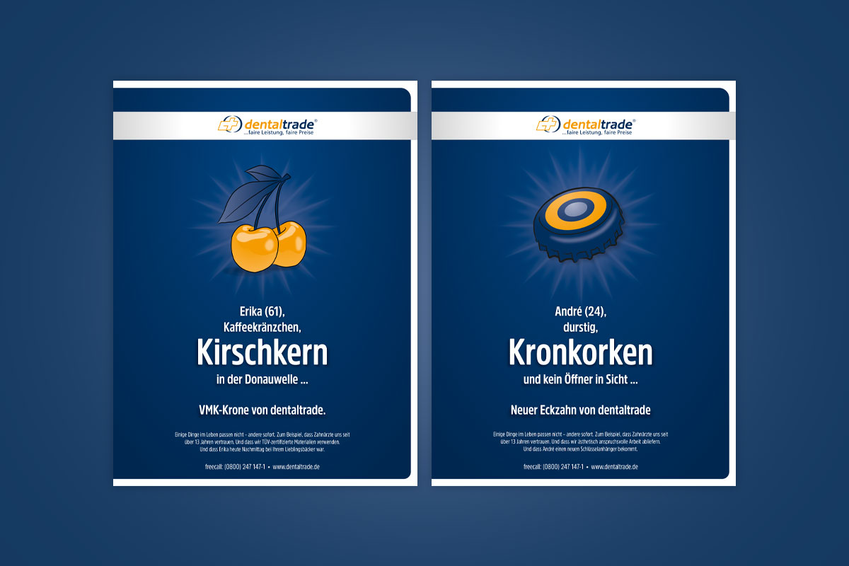 Dentaltrade B2B Anzeigenkampagne: Kirschkern & Kronkorken
