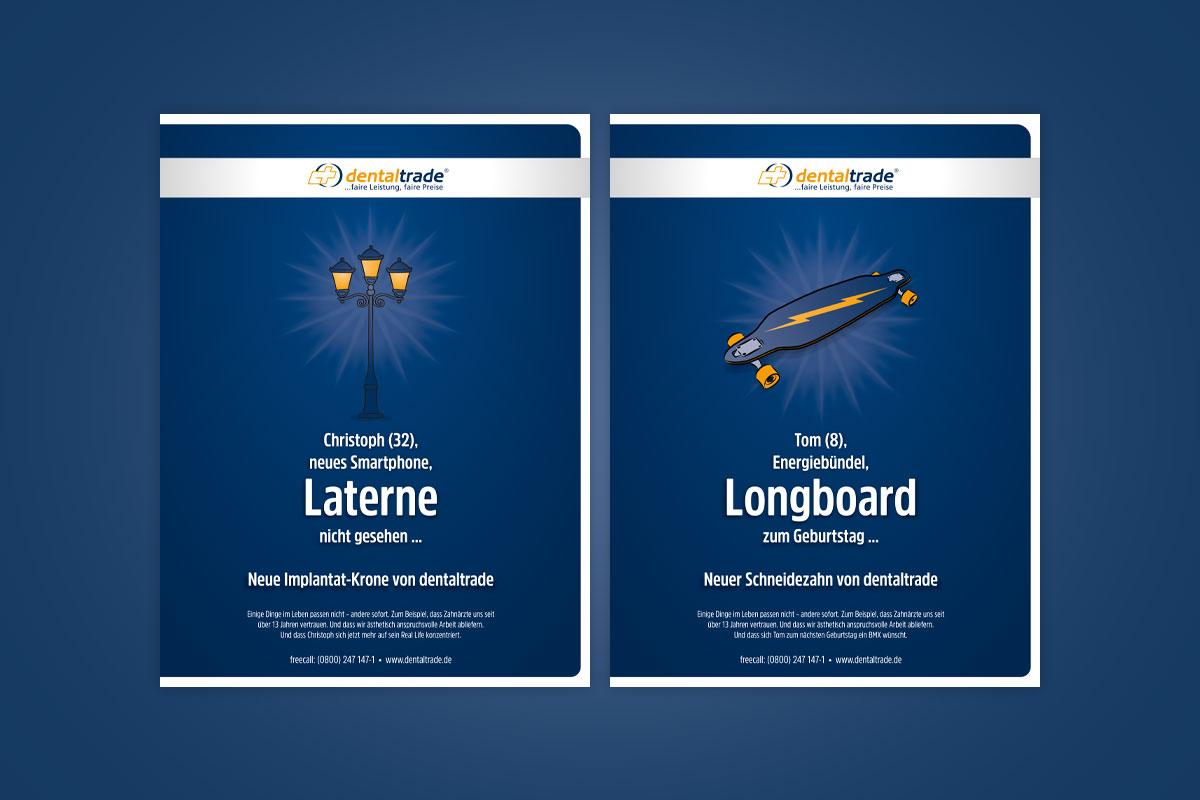 Dentaltrade B2B Anzeigenkampagne: Laterne & Longboard