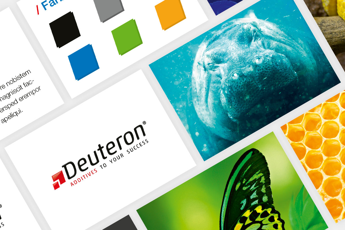 Collage aus den Corporate-Design-Elementen von Deuteron
