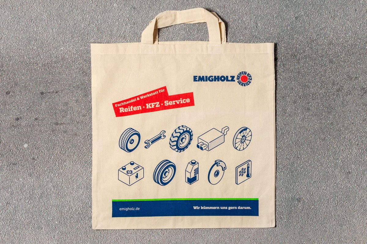 Emigholz Stoffbeutel mit Isometrie Icons