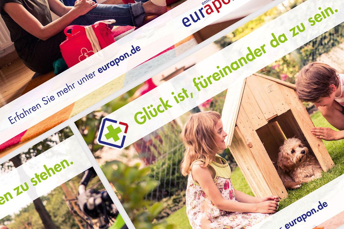 """Eine Collage aus den Motiven der Eurapon-Kampagne """"Glück ist"""""""