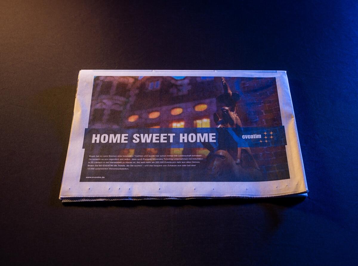 Home sweet home-Anzeige von Eventim im Weserreport