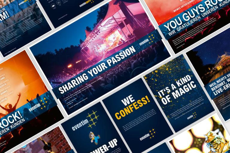 Collage aus Print-Anzeigen von Eventim