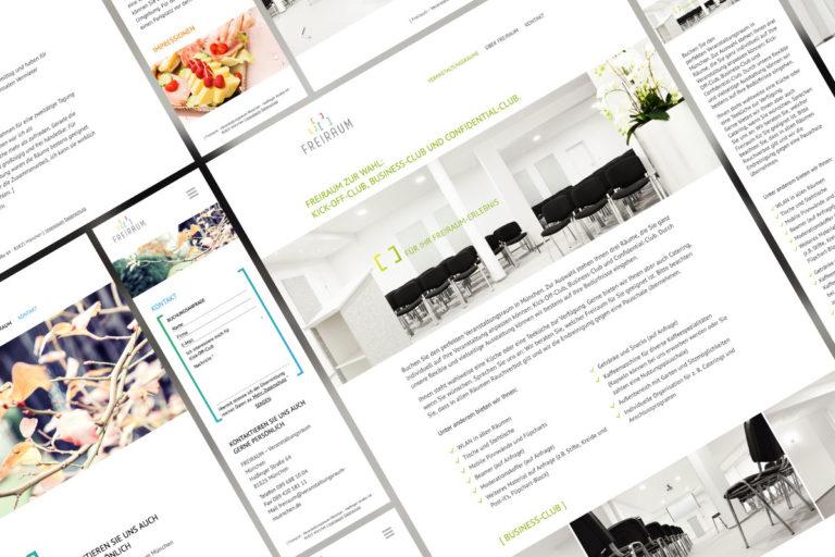 Eine Collage aus den Unterseiten der Freiraum-Website
