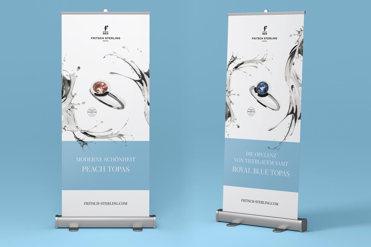 Zwei Roll-Ups von Fritsch Sterling: Peach Topas und Royal Blue Topas
