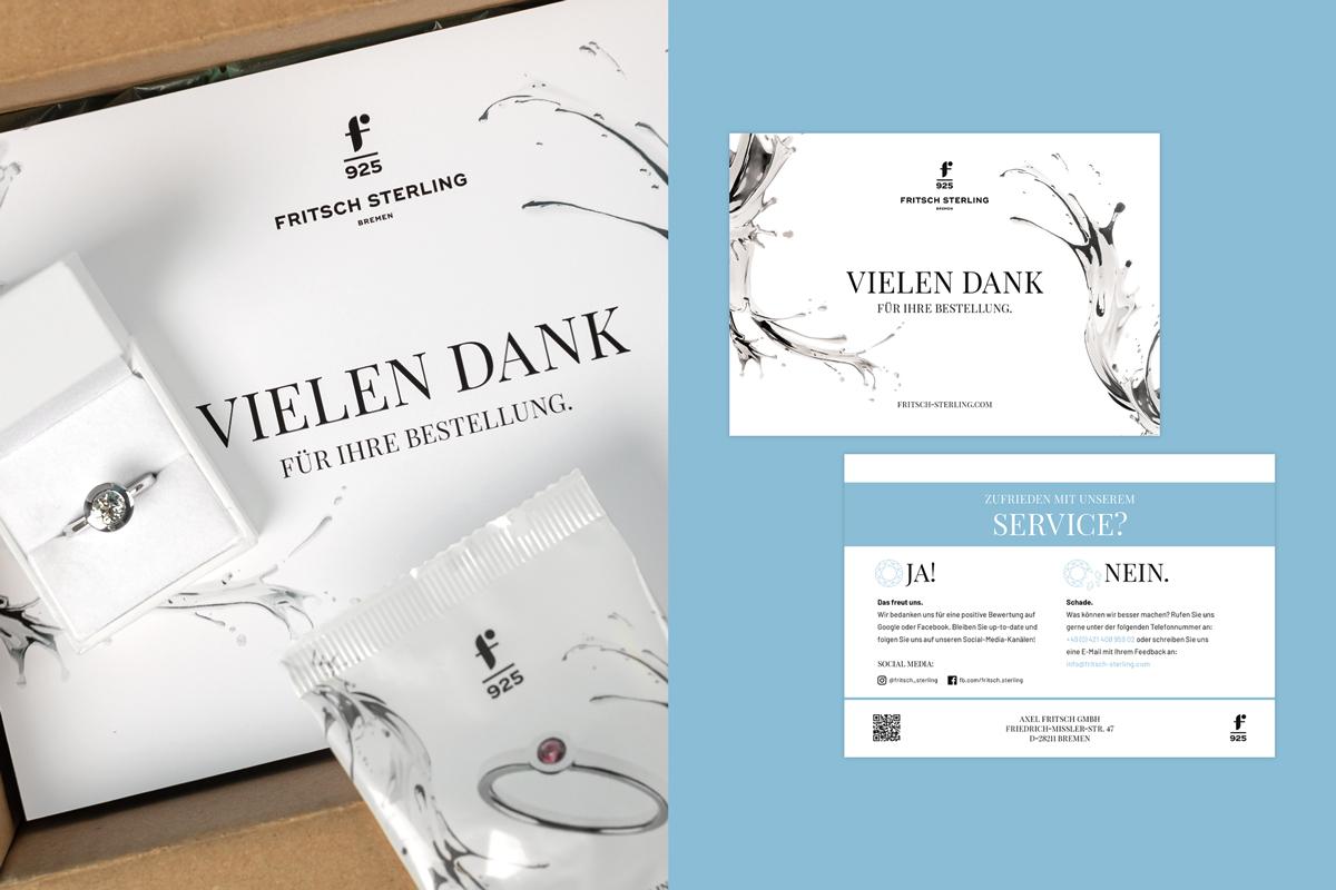 Fritsch Sterling Versandkarton-Inhalte: Schmuck, Feedback-Karte und Fruchtgummis