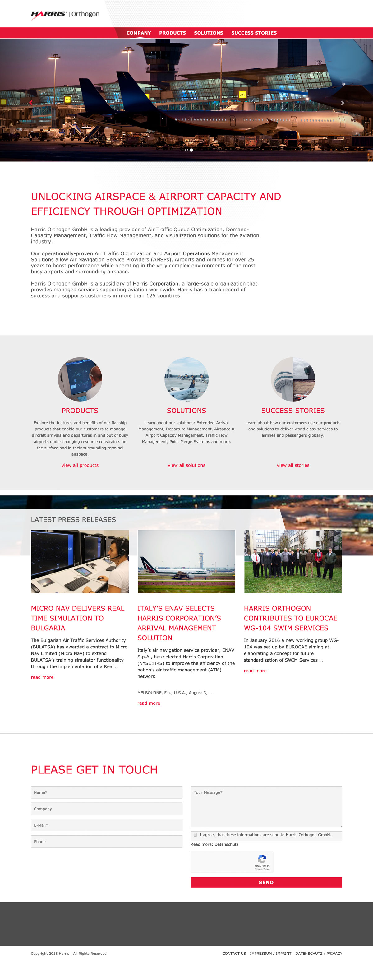 DIe Home-Page der Harris Orthogon Website