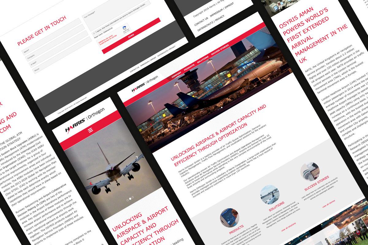 Collage aus den Unterseiten der Harris-Orthogon-Website