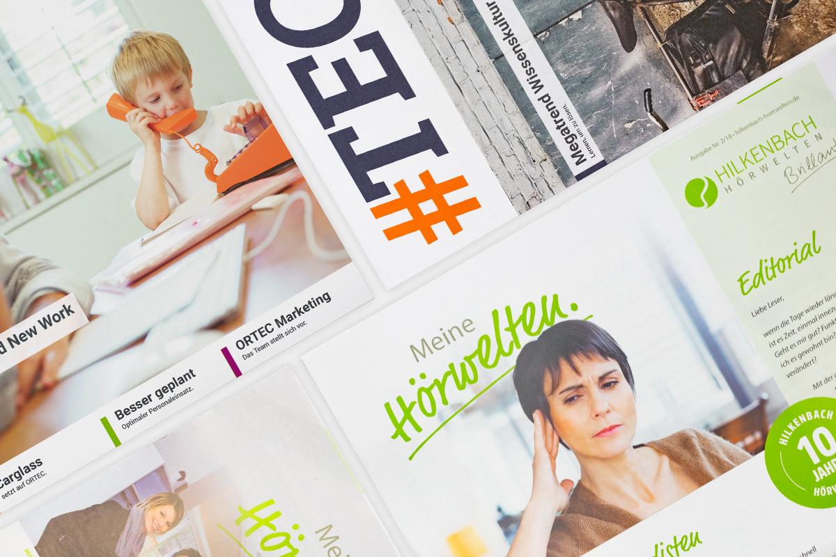 Eine Collage aus den Kundenmagazinen #TEC und Meine Hörwelten