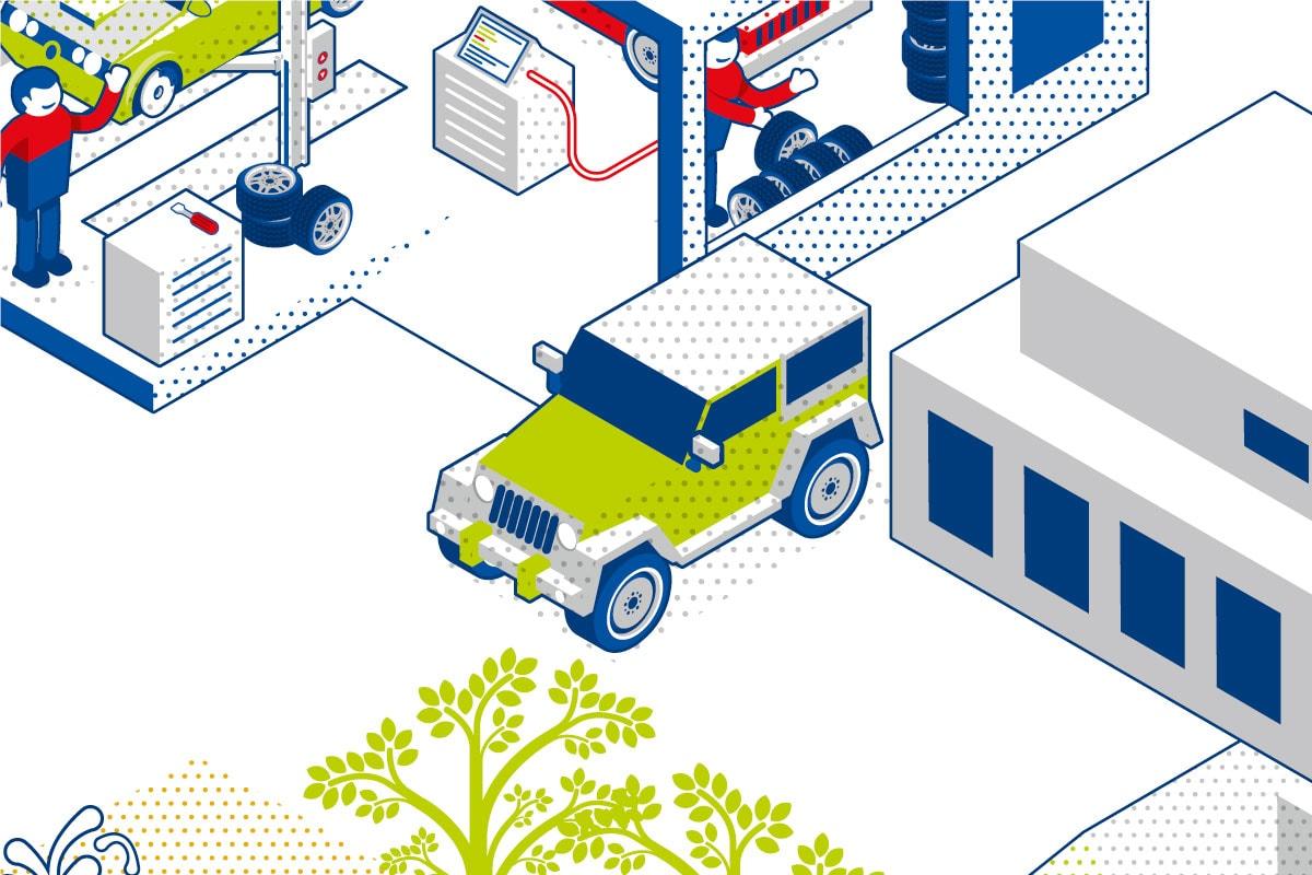 Geländewagen Illustration für Emigholz