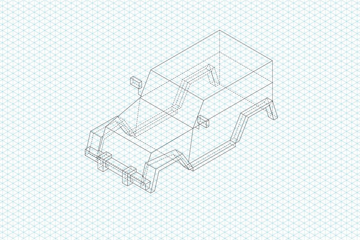 Isometrischer Aufbau der Emigholz Illustrationen: Schritt 2