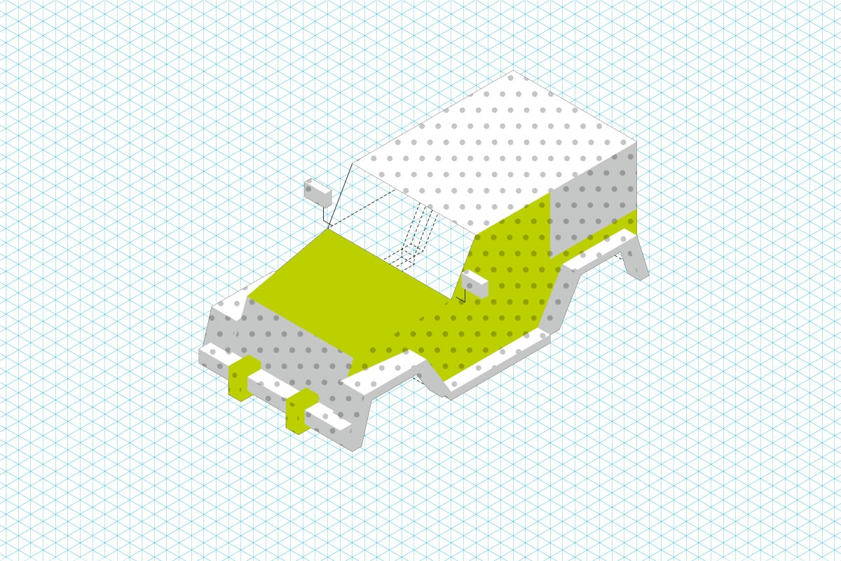 Isometrischer Aufbau der Emigholz Illustrationen: Schritt 3
