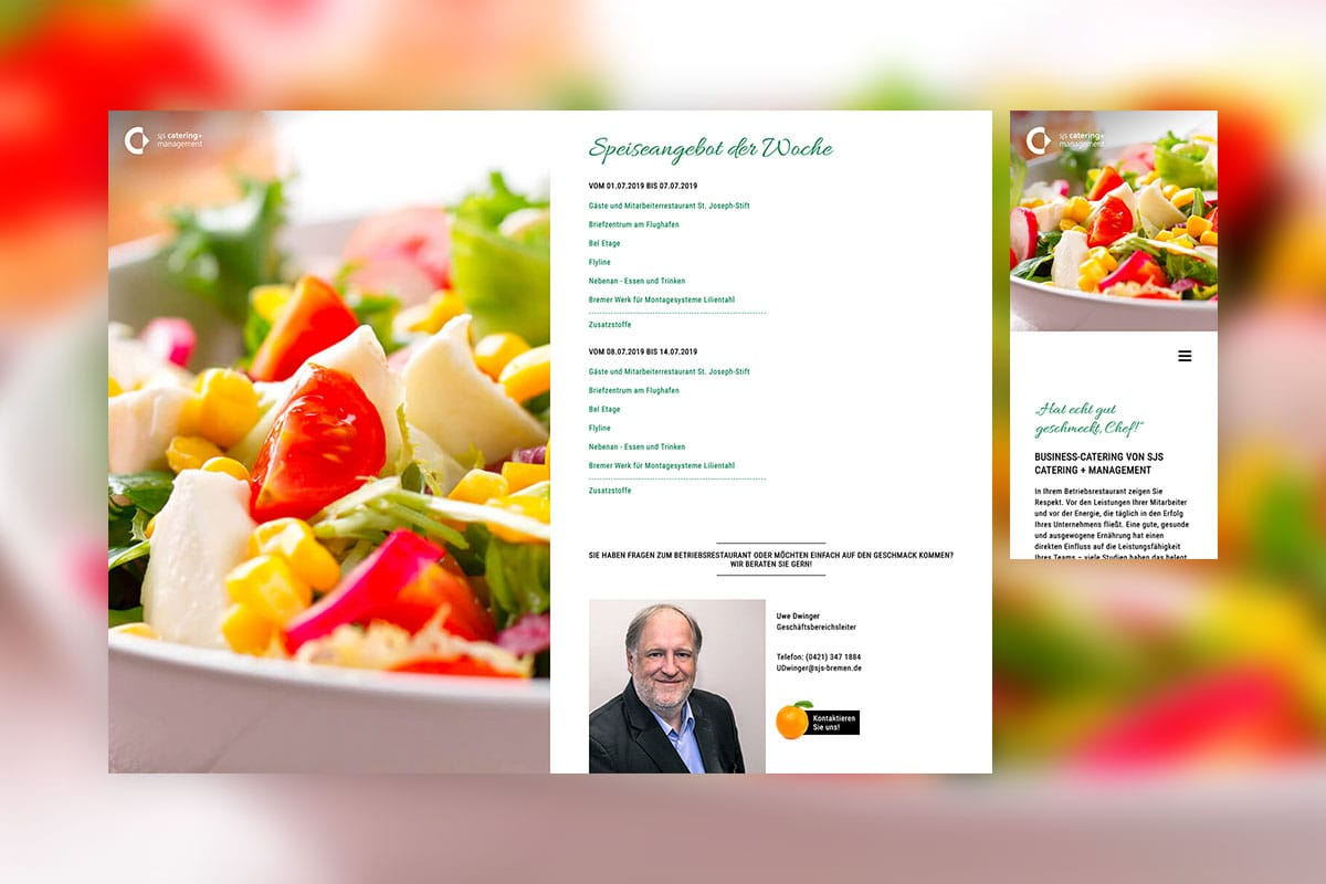"Screenshots der Unterseite ""Business Catering"" von SJS Catering + Management"