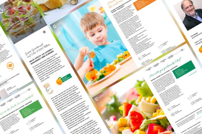 Eine Collage aus den Unterseiten der SJS Catering + Management Website