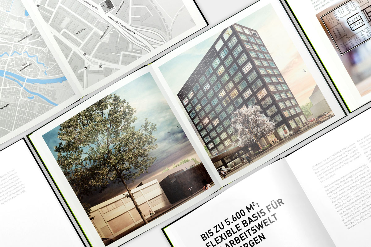 Eine Collage bestehend aus den Seiten des Immobilien-Exposés für das Utbemer Tor