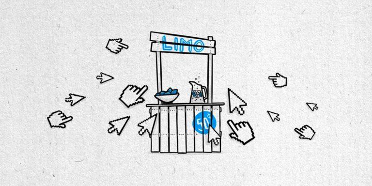 """Illustration eines Limo-Verkaufsstandes, drumherum sind verschiedene Mauszeiger zu sehen, die Richtung stand """"fliegen"""" und scheinbar drauf klicken wollen"""