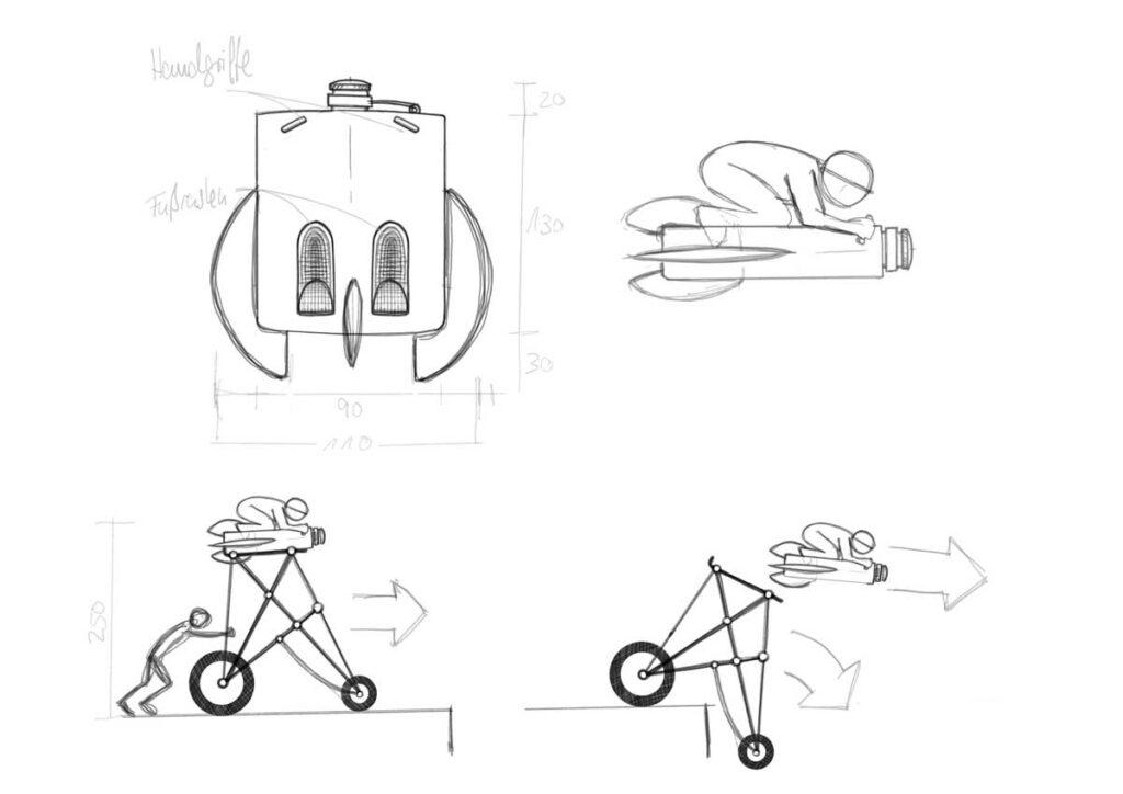 Skizze eines fliegenden Flachmanns