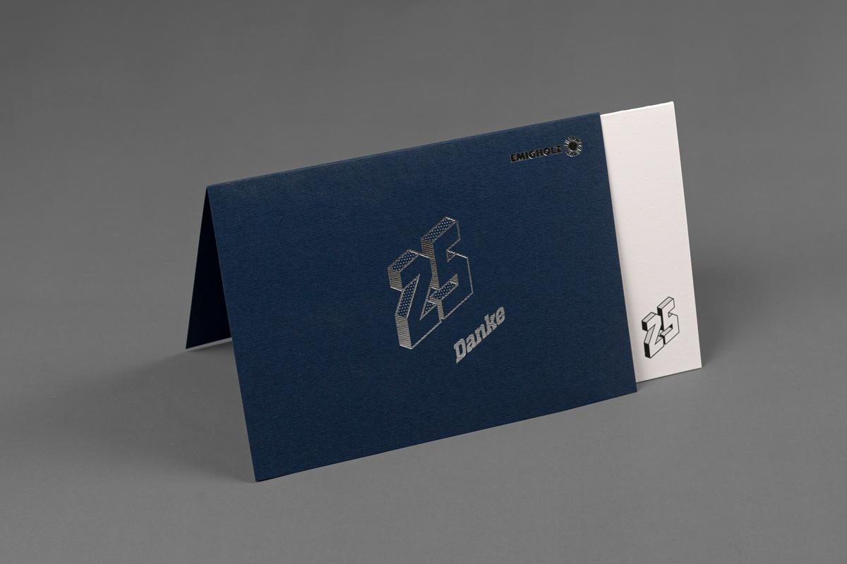 Emigholz Glückwunschkarte mit silberner Heißfolienprägung