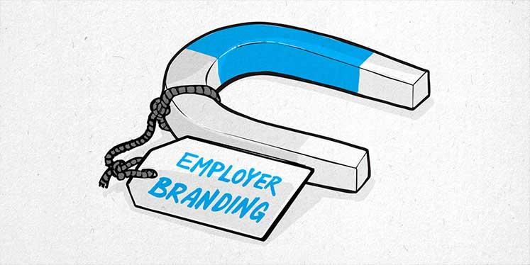 """Illustration zeigt einen Magneten an dem ein Zettel mit der Aufschrift """"Employer Branding"""" hängt"""