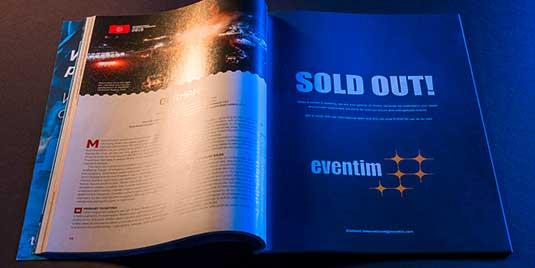 """""""Sold out!""""-Anzeige von Eventim in einem aufgeklappten Magazin"""