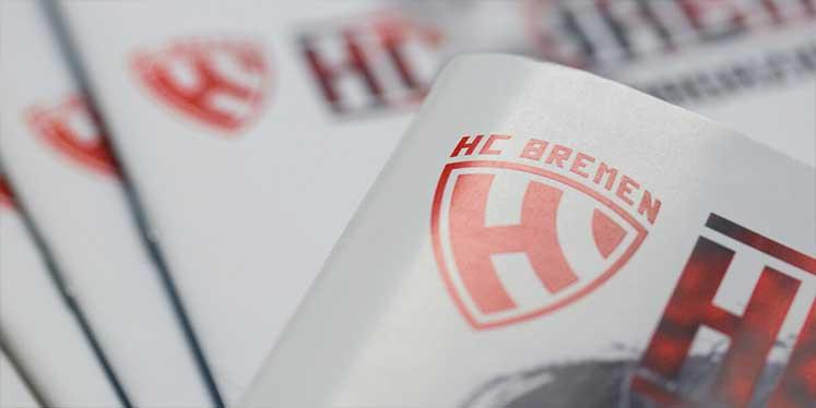 Ausschnitt vom Titel des Hallenhefts des HC Bremens zeigt das HCB-Logo