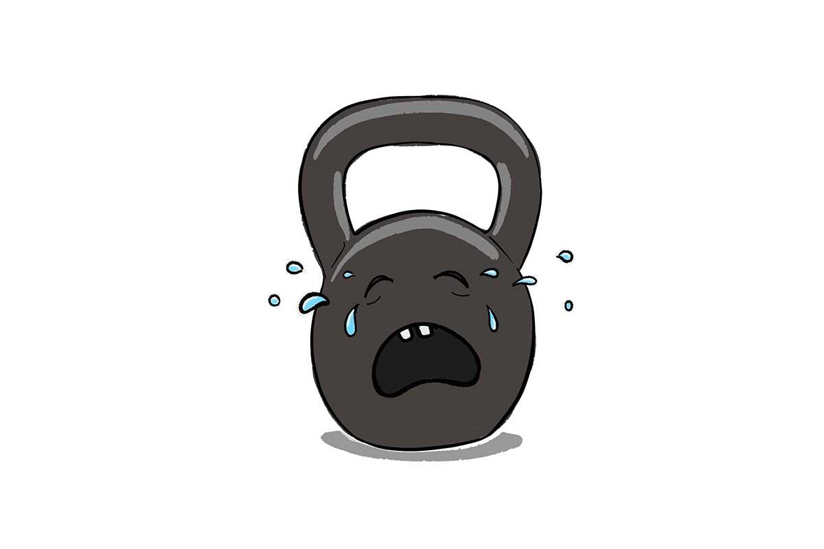 Illustration einer weinenden Kettlebell