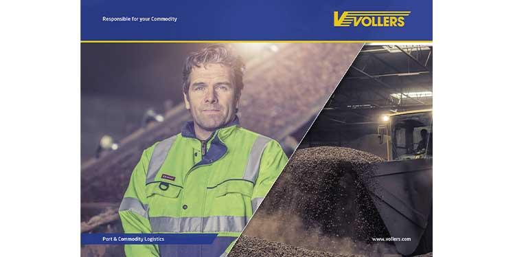 Bild zeigt zwei diagonal getrennte Bilder: Vollers-Mitarbeiter links und rechts Kakao, der gerade im Werk verarbeitet wird