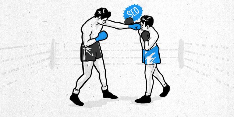 llustration von zwei Boxern, symbolisch für Rank Math vs Yoast