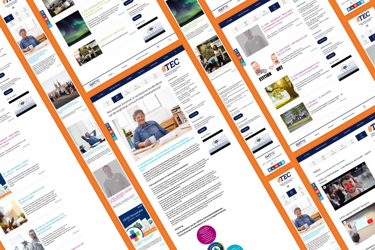 Übersicht der ORTEC Blog Inhalte und Seiten