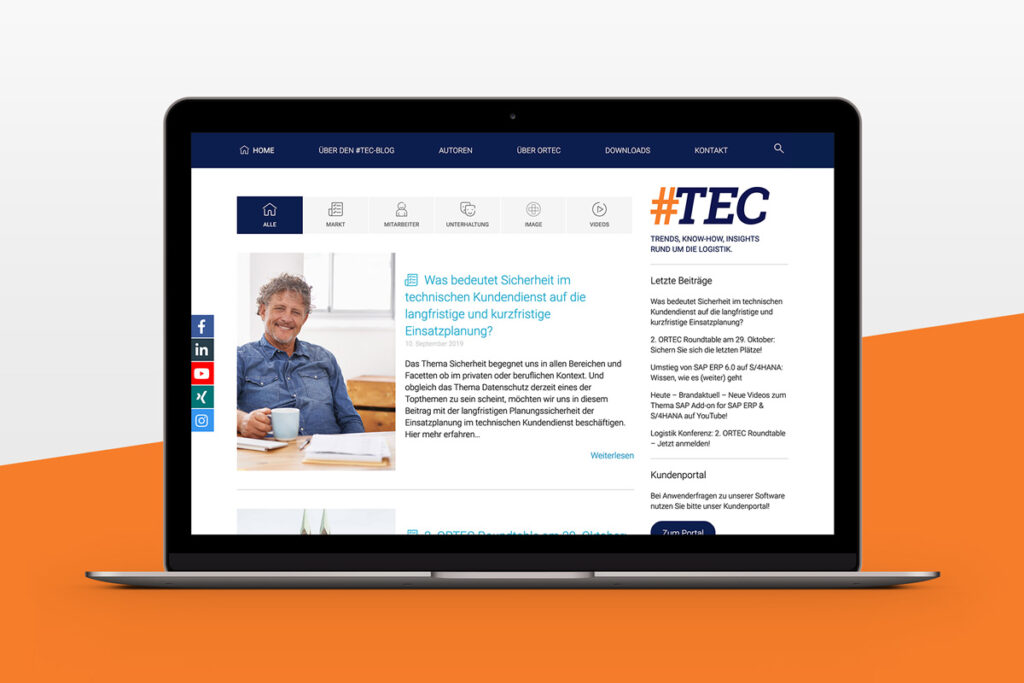 Der Logistik-Blog #TEC auf einem Laptop
