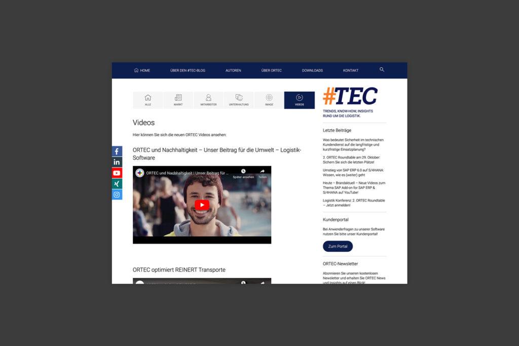 Themenbereich Videos ORTEC Blog