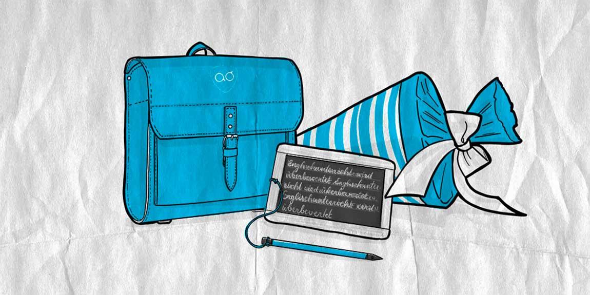 """Die Illustration """"Ausbildung zum Mediengestalter"""" zeigt eine Schultasche und -tüte sowie eine Kreidetafel"""