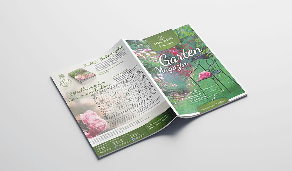 Foto von Titel und Rückseite des Kundenmagazins im neuen Corporate-Design von Weingärtner Gartencenter