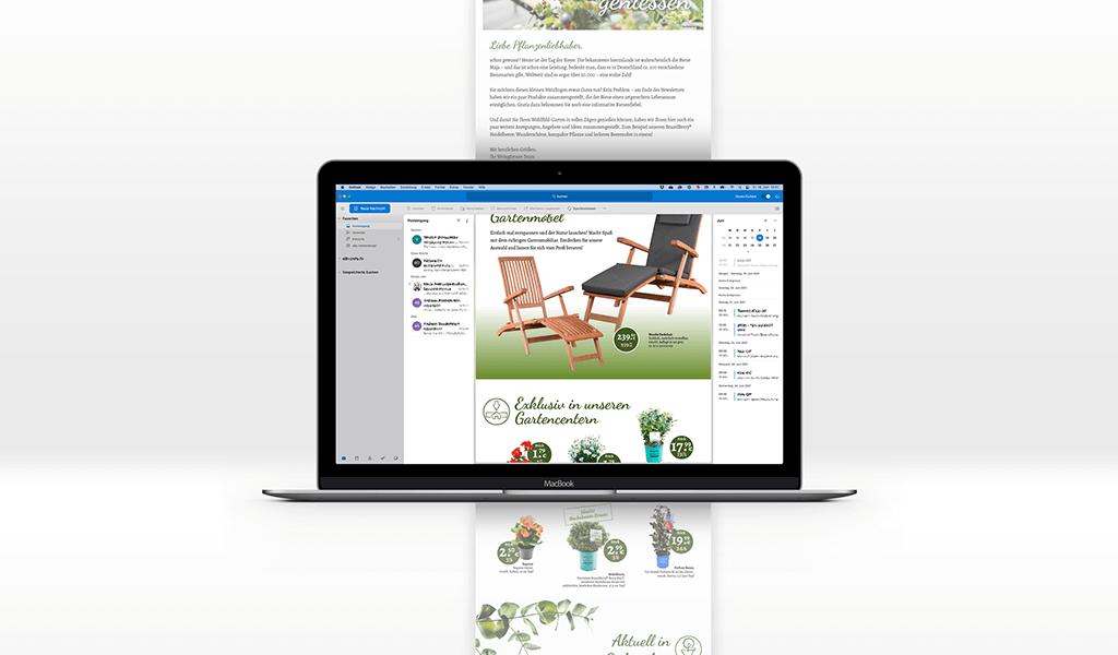 Foto vom Newsletter im neuen Corporate-Design von Weingärtner Gartencenter