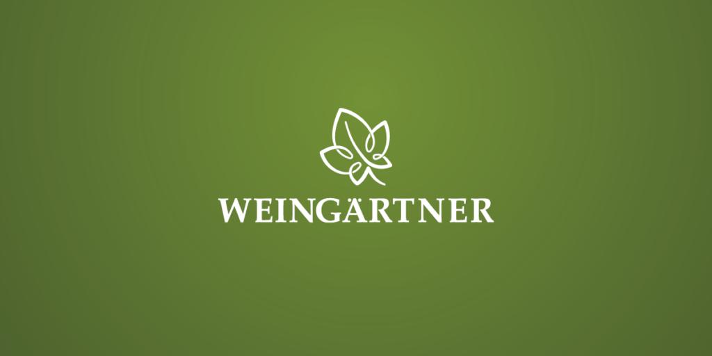 Foto des Weingärtner Logos negativ Weiß auf Grün, mit Wort- und Bildmarke