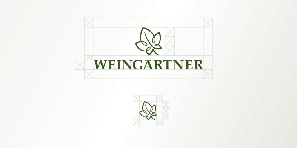 Foto des Weingärtner Logos mit Schutzzone für Wort- und Bildmarke