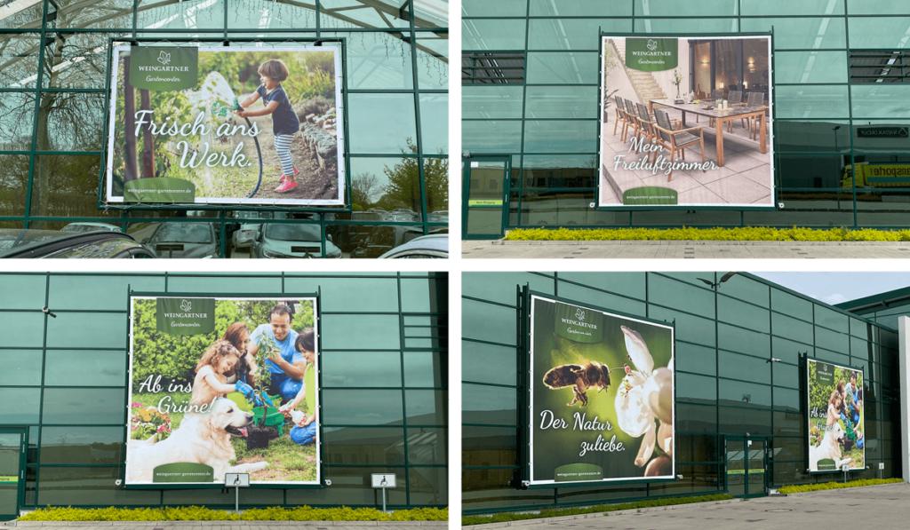 Fotos verschiedener Großflächen-Plakate im neuen Weingärtner Corporate-Design