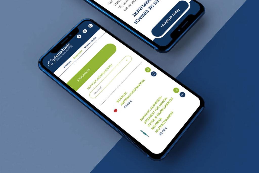 Foto vom dentaltrade Depot Responsive Webdesign für mobile Endgeräte auf einem Smartphone