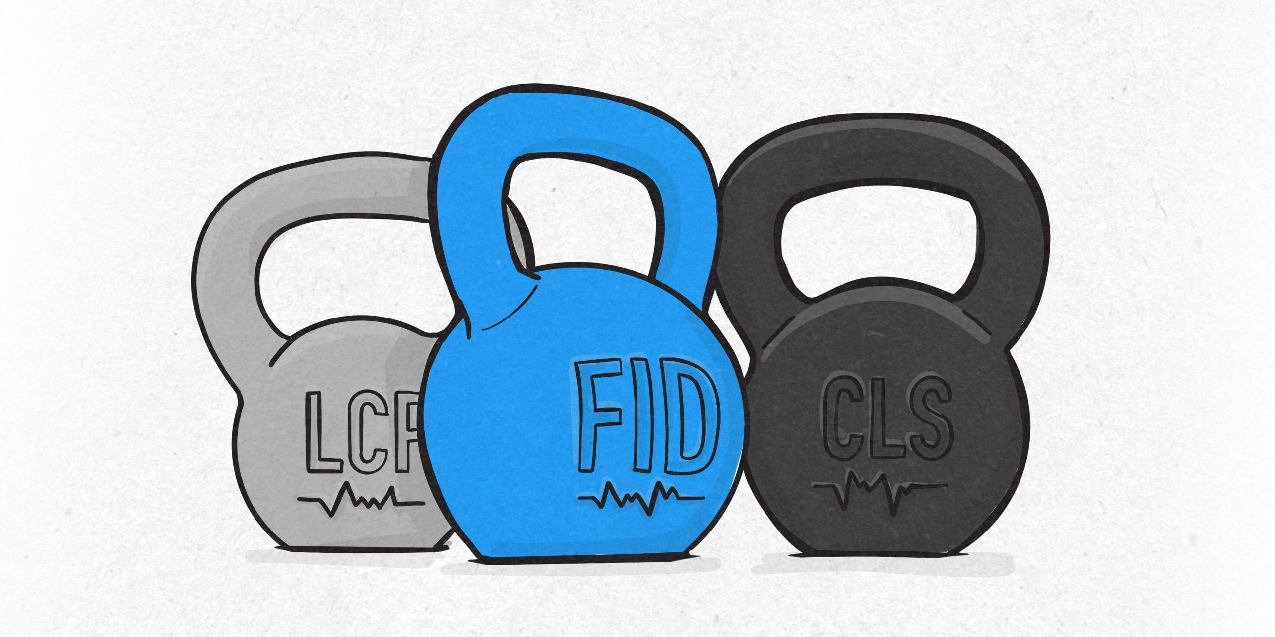 Illustration der Google Core Web Vitals Kennwerte LCP, FID und CLS als schwere Kettlebells
