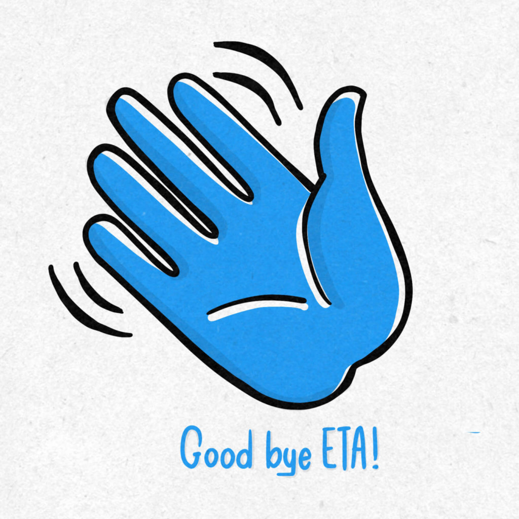 Illsutration mit winkender Hand zur Verabschiedung der ETA