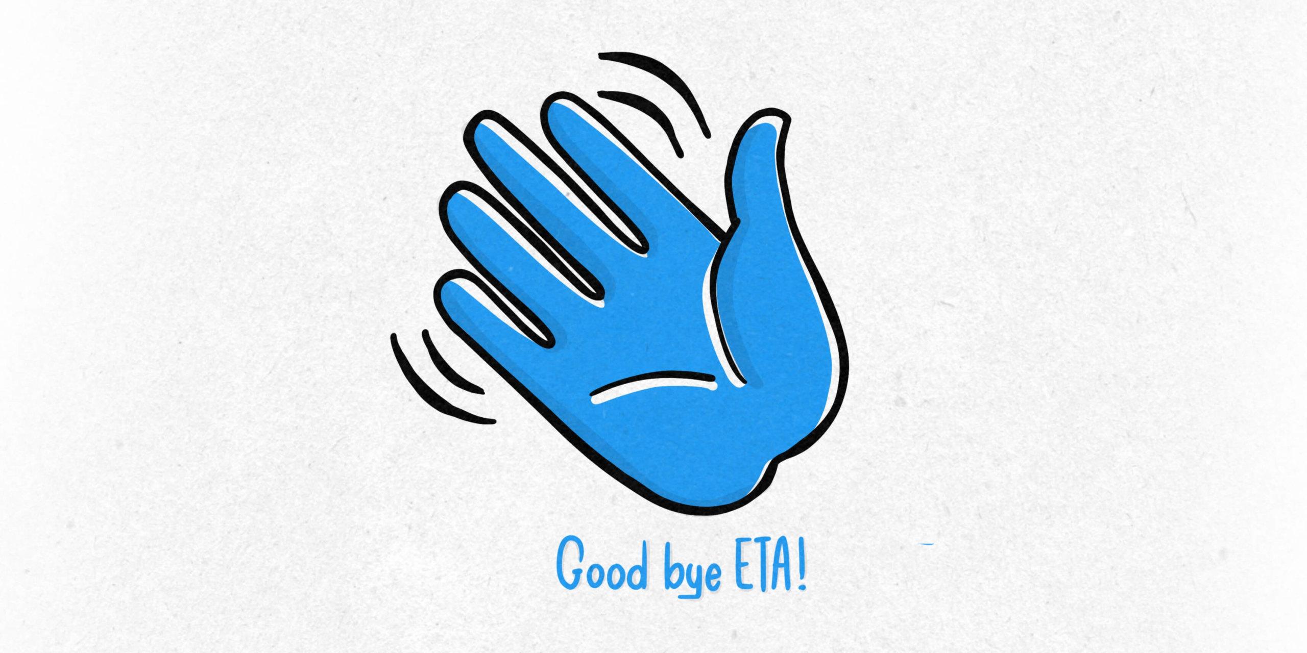Illustration zum Ende der Erweiterten Textanzeigen mit winkender Hand und Text als Good Bye
